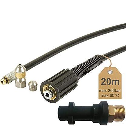 Rohrreinigungsschlauch-20m-200bar-60C-inkl-Dse-starr-Dse-rotierend-inkl-Adapter-geeignet-fr-Hochdruckreiniger-Krcher-von-McFilter