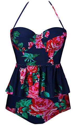 Angerella Damen Blumenmuster Ruffles Tankini Top Halfter Hals Zwei Stück Badeanzug Bikini Set