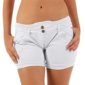 Luckycat-Damen-Freizeithosen-Urlaub-elastische-Taille-Damen-Sommer-Hosen-Hosen-Shorts-beschnitten-mit-Taschen-Damen-Shorts-mit-ser-Hkelspitze-Kurze-Hose