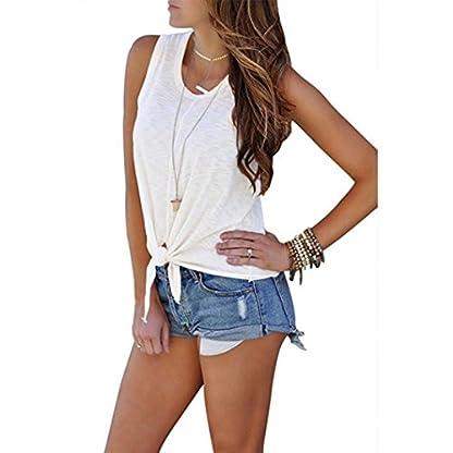 Sunnywill-damen-tshirt-Damen-Tshirt-Oberteile-Elegant-Sommer-O-Neck-rmelloses-Shirt-Bluse-Vordere-Krawatte-Knoten-Cami-Tank-Tops
