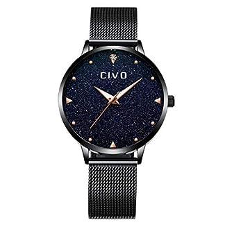 CIVO-Damen-Uhr-Frauen-Schwarz-Edelstahl-Wasserdicht-Armbanduhr-Mdchen-Jugendliche-Einfach-Lssige-Modish-Analoge-Uhren