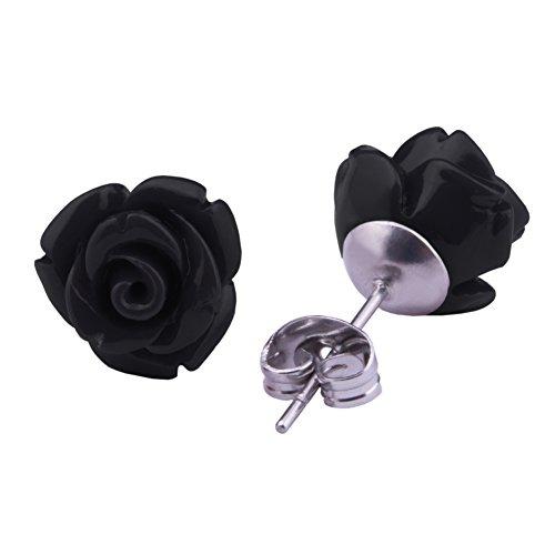 Rosen Ohrstecker Schwarz Edelstahl Blumen Ohrringe 10mm Ohrschmuck für Damen