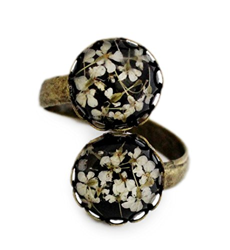 Miss Lovie Damen Mädchen Modeschmuck Schmuck Vintage Echte Blüten Ring Verstellbar Harz Schwarz Weiß Bronze