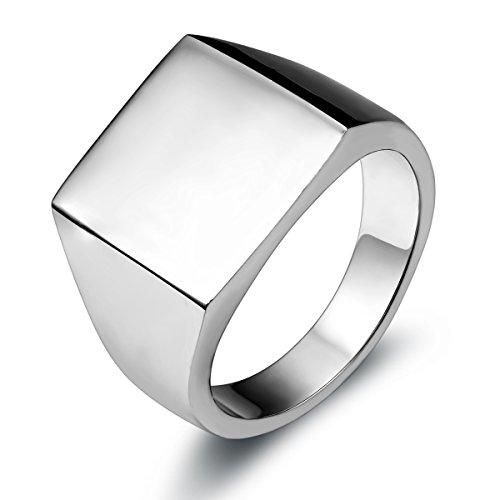 JewelryWe Schmuck Biker Edelstahl Herren-Ring, Glänzend Poliert Siegelring Quadrat Band Ring, Silber Größe 57 bis 67 – mit Geschenk Tüte