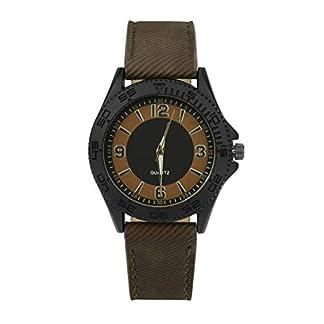 Armbanduhr-Men-Liusdh-Uhren-Retro-Herren-Denim-Leaderband-Uhr-Runde-arabische-digitale-einfache-Uhr