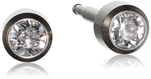 Pure Grey Unisex-Ohrstecker Titan Zirkonia Erstohrstecker weiß 304