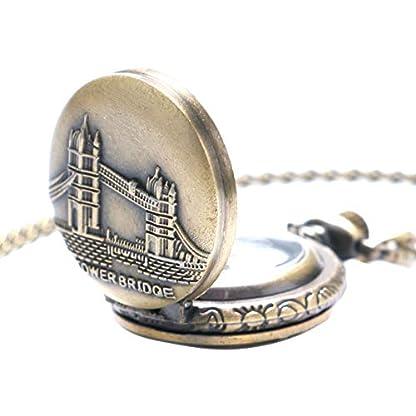 Taschenuhr-fr-Herren-Vintage-London-Tower-Bridge-Quarzuhrwerk-Geschenk-fr-Herren