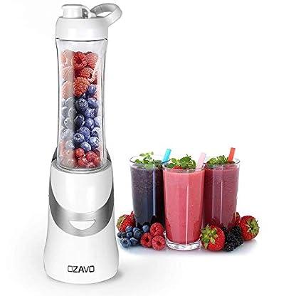 OZAVO-Smoothie-Maker-Standmixer-Blender-350W-BPA-frei-600ml-Tritan-Trinkflasche-tragbar-4-Edelstahlmesserwei