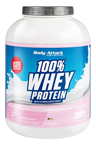 Body Attack 100% Whey Protein, Strawberry-White Chocolate, 1er Pack (1 x 2,3 kg)