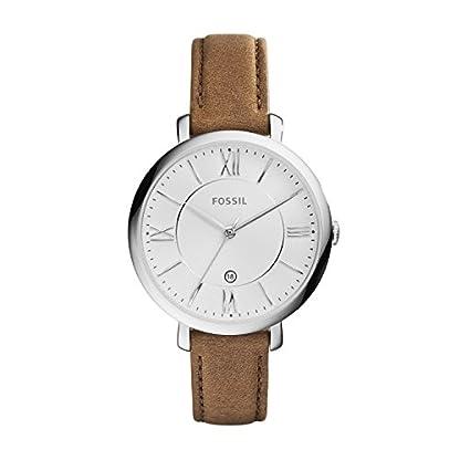 Fossil-Jacqueline-Leder-Armbanduhr-DamenMit-Edelstahlgehuse-silber-Quarz-Uhrwerk-analoger-Datumsanzeige-idealer-Begleiter-fr-jede-Gelegenheit