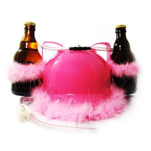 Monsterzeug-Glitzer-Bierhelm-mit-Trinkschlauch-und-Flaschenhalter-Baurbeiter-Helm-mit-Puscheln-Getrnkehalter-Trinksystem-Pink