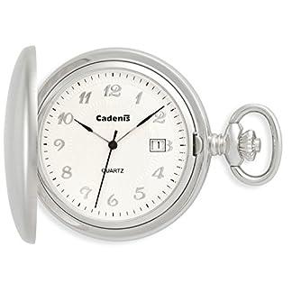 Cadenis-Taschenuhr-mit-Laser-Gravur-mit-Sprungdeckel-Savonette-Quarzwerk-43-mm-verchromt-matt-gebrstet
