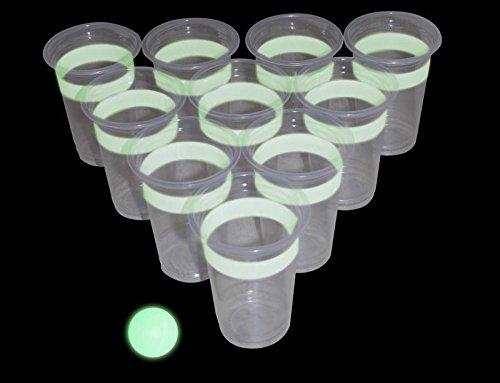 Beer-Pong-Glow-in-the-Dark-leuchtet-im-Dunkeln-Trinkspiel-22-Becher-2-Blle
