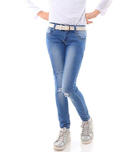 Mädchen Jeans Kinder Hose Stretch Röhrenjeans Jeanshose