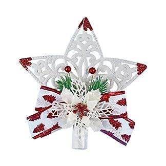 YeahiBaby-Weihnachtsbaum-Spitze-Weihnachtsbaum-Stern-Schneeflocke-mit-Schleifen-Glitter-Weihnachtsbaum-Deko-Wei-und-Rot