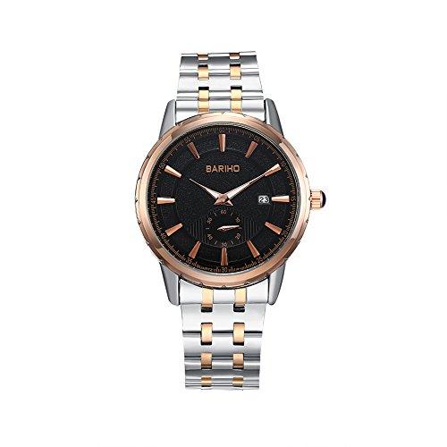 iLove-EU-Herren-Damen-Armbanduhr-Analog-Quarz-30M-Wasserdicht-Partner-Uhr-Modisch-Zeitloses-Design-Edelstahl-Armband-mit-Schwarz-Zifferblatt-Gold-Silber