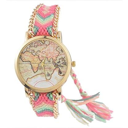 Souarts-Damen-Rasa-Geflochten-Weltkarte-Armbanduhr-Quartzuhr-Analog-Armreif-Uhr-mit-Batterie