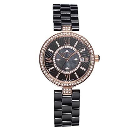 Stella-Maris-Damen-Armbanduhr-Analog-Quarz-Uhr-Stilvolle-Elegante-Damenuhr-Frauenuhr-Schwarz-Gold-Premium-Keramik-Armband-Diamanten-Swarovski-STM15SM4