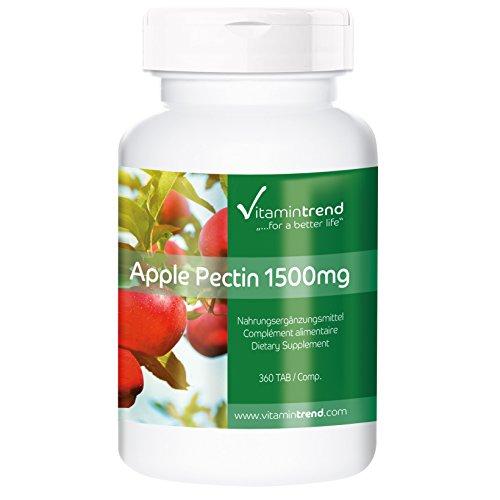 Apfelpektin 1500mg Tagesverzehr, hochdosiert und vegan, 360 Apfelpektin-Tabletten für 4 Monate, Ballaststoff für längere Sättigung, Darmflora, Immunsystem, Verdauung