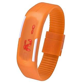 JSDDE-UhrenTouch-Screen-LED-Digital-Uhr-Quarzuhr-Sportuhr-Silikon-Herren-Damen-ArmbanduhrOrange
