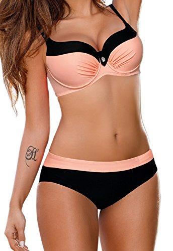 CROSS1946 Damen Elegant Bademode Push Up Zweiteiler Swimsuits Badeanzug Bikini-Set