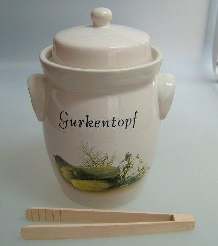Gurkentopf-5L-creme-Keramik-mit-Holzzange