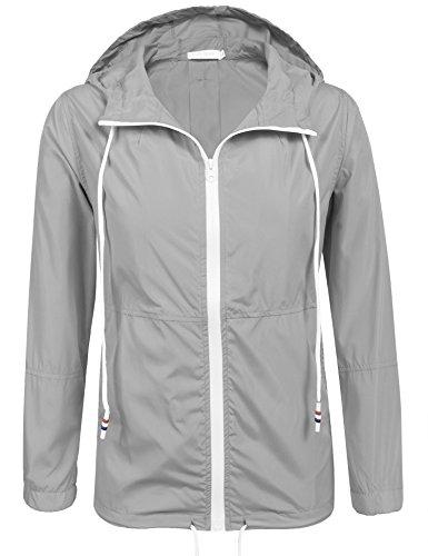 Damen Jacke Windbreaker Übergangsjacke Wasserabweisend Regenmantel Regenjacke mit Kapuze in 14 Farben