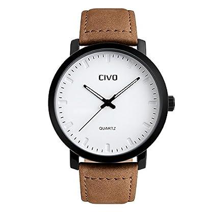 CIVO-Herren-Braun-Lederband-Analog-Quartz-Uhren-Luxus-Elegant-Wasserdichte-Armbanduhr-Business-Uhr-Einfaches-Zeitloses-Design-Klassisch-Casual-Kleid-Sport-Armbanduhren-Wei-Dial