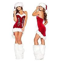 FAFY-Damen-Weihnachtsmann-Sexy-Weihnachtskostme-Pelz-Sets-Damen-Kostm-Outfits-Rot-Sexy-Kleid