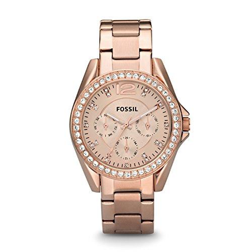 Fossil-Riley-Damen-UhrElegante-Edelstahl-Armbanduhr-mit-Strasssteinen-wasserfestes-Quarz-Uhrwerk-inkl-Wochentags-Datumsanzeige