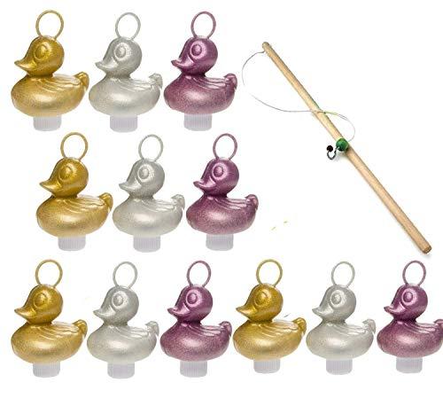 Partynelly-12x-Glitzer-Enten-1x-Angel-zum-Enten-Angeln-Silber-Gold-rosa-Entenangeln-Angelspiel