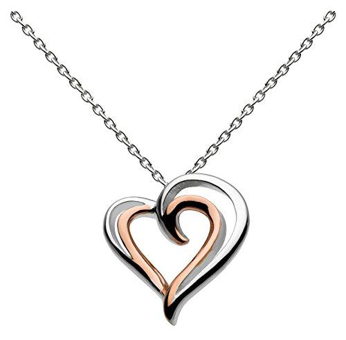 Dew 98028GD Damen-Halskette, Sterling-Silber 925, vergoldet, Herzanhänger, 45,7 cm