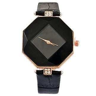 MJartoria-Damen-Armbanduhr-Quarz-Uhr-Modeschmuck-PU-Lederarmband-Mode-Design-Schwarz