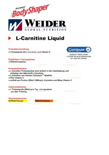 Weider, L-Carnitine Liquid 1.800, Pfirsisch, 1er Pack (20x 25ml)