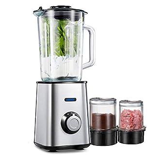 Smoothie-Maker-Standmixer-AICOOK-Mixer-15-Liter-Glasbehlter-Mahlbecher-und-Fleischwolf-Glasbecher-Edelstahl-Silber