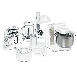 Bosch-Kchenmaschine-MUM4-600-Watt-Edelstahl-Rhrschssel-Durchlaufschnitzler-Mixeraufsatz-Kunststoff-Fleischwolf-wei