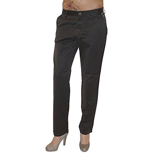 MET Design Damen Jeans Jeanshose Hose gerades Bein Chino Chinohose used Look braun 100% Baumwolle
