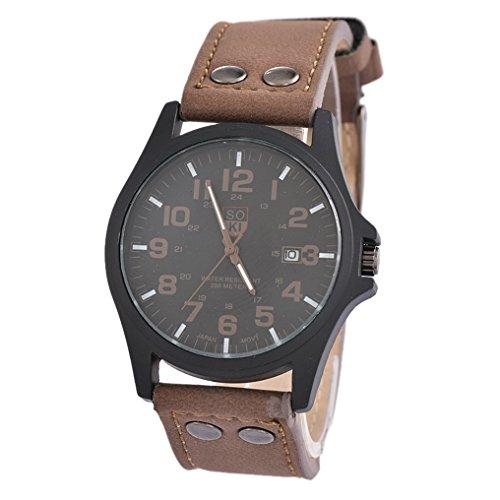 MJARTORIA-Herren-Kaffeebraun-Kunstleder-Wasserdicht-Armbanduhr-Herrenuhr-mit-Datum-Uhr