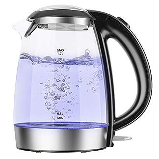 Wasserkocher-Glass-NOVETE-Electric-Kettle-17-Liter-fr-Tee-und-Wasser-mit-LED-Anzeige-automatische-Abschaltung-und-berhitzungsschutz-2200W-100-Edelstahl-Innendeckel-Boden