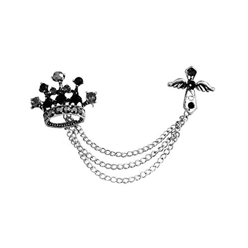 Fengteng Stilvoll Brosche Krone und Kreuz Hängende Kette Schwarz Farbe Anstecknadel Abzeichen für Herren und Frauen Elegant Zubehör Schmuck