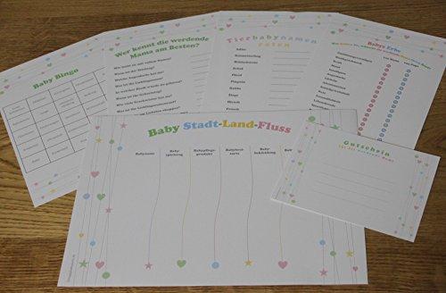 Babyparty-Spiele-Set-mit-5-Spielen-fr-je-8-Spieler-in-Deutsch-Baby-Bingo-Baby-Stadt-Land-Fluss-Wer-kennt-die-Mama-am-Besten-Babys-Erbe-Tierbabynamen-raten