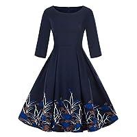Luckycat-Damen-Plus-Gre-34-rmel-Vintage-Kleid-Floral-Print-Retro-Swing-Dress-Abendkleider-Cocktailkleid-Partykleider-Blusenkleid-Mode-2018