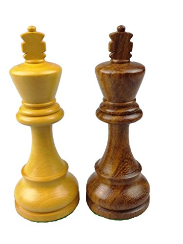Schachfiguren-aus-Holz-Samtbeutel-American-Staunton-Design-Edelhlzer-Knigshhe-95-mm-Profi-Turnierspieler