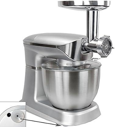 Syntrox-Germany-KM-65L-De-Luxe-Silver-Kchenmaschine-Knetmaschine-Mixer-Edelstahl-Silber-1300-Watt-mit-tollem-Zubehr