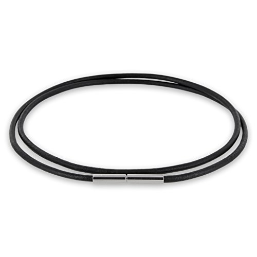 AURORIS Echtleder Kette 2 mm schwarz mit Tunnel-Drehverschluss aus Edelstahl Länge wählbar