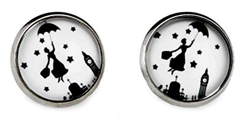 Miss Lovie Damen Mary Poppins Ohrstecker Ohrringe Cabochon 12mm Modeschmuck Schmuck Schwarz Weiß Silber