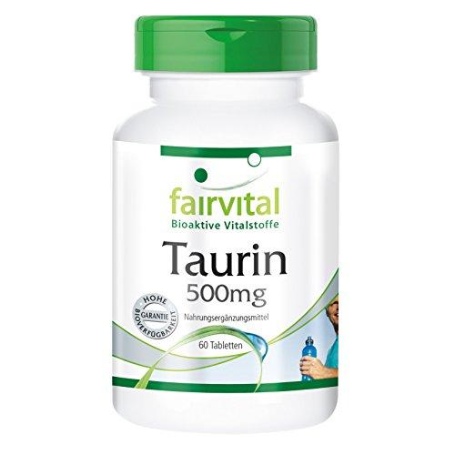 Taurin 500mg – 60 vegetarische Tabletten – Wachmacher mit gesunden Nebenwirkungen – Reinsubstanz