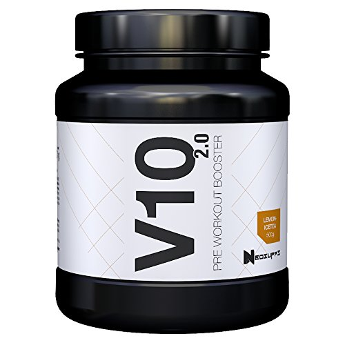 Pre-Workout Fitness Booster für Muskelaufbau & maximalen Pump | Bodybuilding & Trainingsbooster mit Beta Alanin, Kreatin und Koffein für mehr Leistung, Fokus | Neosupps V10 Booster – Lemon Eistee