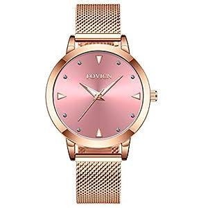 Ultradnne-Uhren-fr-Frauen-wasserdichte-Mesh-Damenuhr-Analoge-Quarz-weibliche-Armbanduhr-Geschenk-Pink
