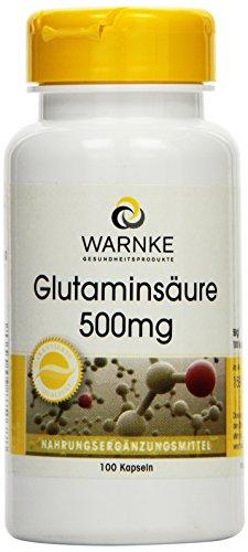 Warnke Gesundheitsprodukte Glutaminsäure 500 mg, Reinsubstanz ohne Zusatzstoffe, 100 Kapseln, vegi, 1er Pack (1 x 58 g)